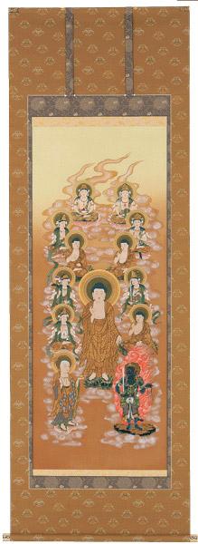 掛け軸 掛軸阿弥陀十三佛(伊藤 香川) 尺八立