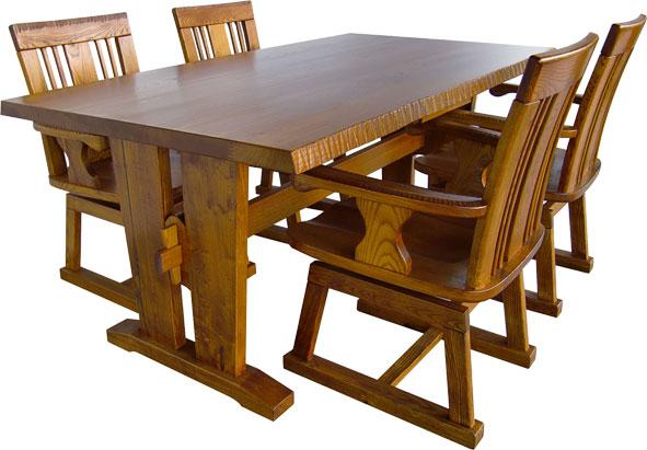 民芸家具 匠 食卓セット 165 全国送料・代引き手数料無料 机・椅子のセット メーカー直送玄関渡し