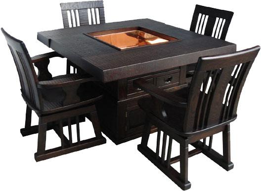 民芸家具 鋸目 囲炉裏セット 110 全国送料・代引き手数料無料 炉付き机・椅子のセット メーカー直送玄関渡し
