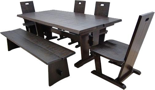 全国送料無料 メーカー直送玄関渡し 民芸家具 机・椅子・ベンチのセット 180 食卓セット
