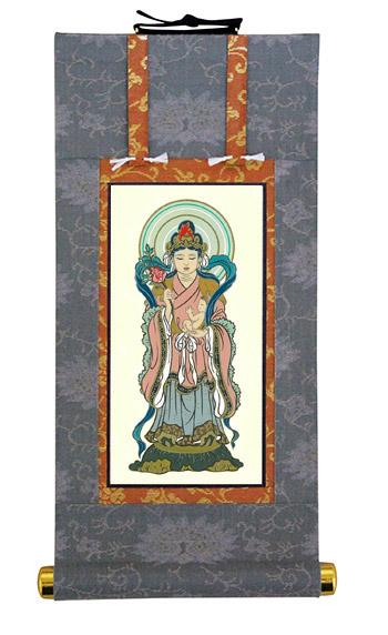 当店オリジナル仏壇軸 鬼子母神(右側) 200代サイズ 印刷 日蓮宗 仏事法要軸 国内表装 受注生産商品です 送料無料 代引き手数料無料