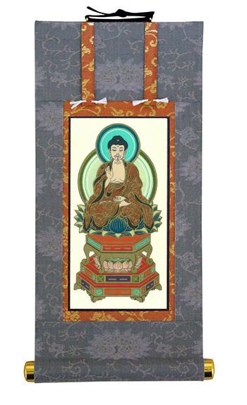 当店オリジナル仏壇軸 釈迦如来(中央) 200代サイズ 印刷 臨済宗 仏事法要軸 国内表装 受注生産商品です 送料無料 代引き手数料無料