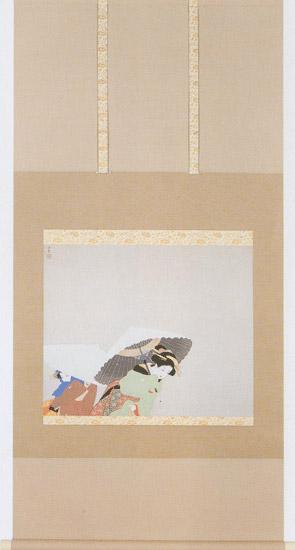 日本の名画を掛け軸に牡丹雪(ぼたんゆき) 上村松園 複製画掛軸