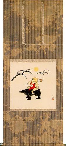 掛け軸 金太郎(今井 玄花)ローケツ染裂地使用