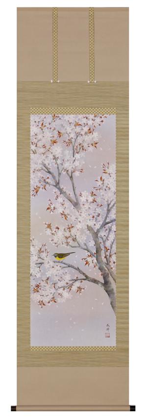 掛け軸 掛軸(かけじく)桜(河津 武禅)全国送料無料無料 代引き手数無料 新品掛け軸 専門店 通販