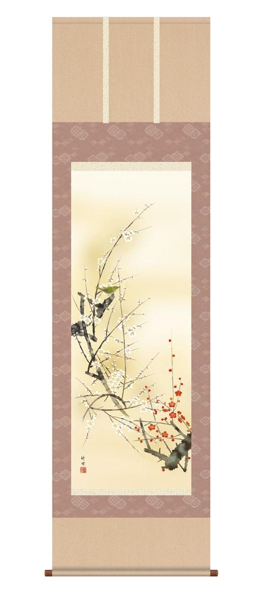 掛け軸 掛軸(かけじく)[尺五立]紅白梅に鶯(田村 竹世)全国送料無料無料 代引き手数料無料 花鳥画 季節掛け 冬向け 通販 受注後生産商品
