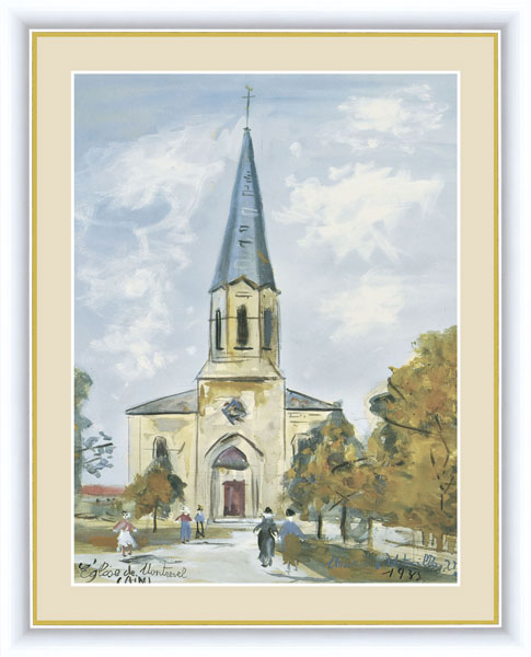 絵画 モーリス・ユトリロ ユトリロ 額飾り F6サイズ モンルヴェルの教会 受注生産品 全国送料無料 代引き手数料無料