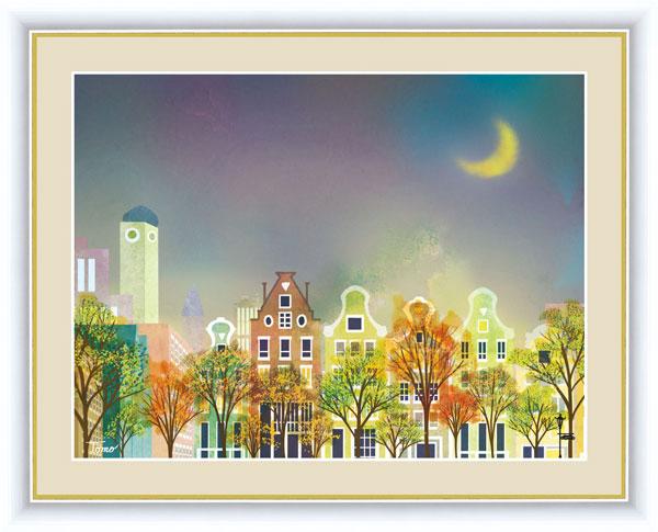 絵画 横田 友広(よこた ともひろ) 街路樹と街並み F6サイズ 月夜の街並み 受注生産品 全国送料無料 代引き手数料無料