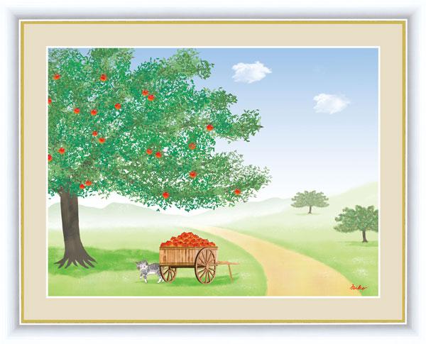 絵画 鈴木 みこと(すずき みこと) 大きな木の風景 F6サイズ りんごの木 受注生産品 全国送料無料 代引き手数料無料