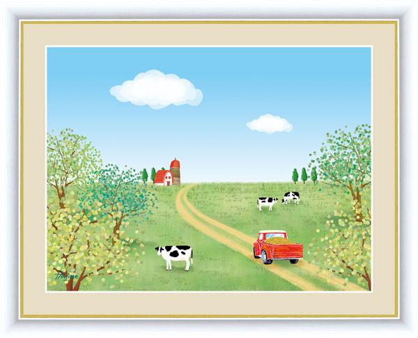 絵画 喜多 一(きた はじめ) のどかな風景 F6サイズ 牧場 受注生産品 全国送料無料 代引き手数料無料