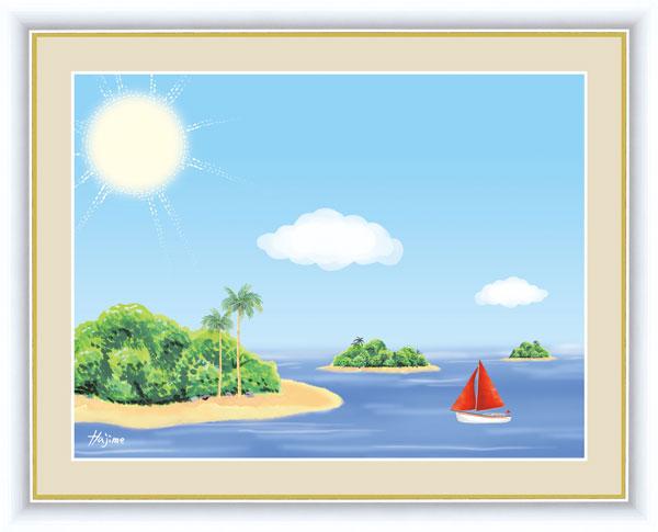 絵画 喜多 一(きた はじめ) のどかな風景 F6サイズ 南国の島 受注生産品 全国送料無料 代引き手数料無料