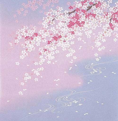 正絹風呂敷 ちりめん友仙ふろしき二巾(68cm 9号)しだれ桜に流水内祝 結婚祝 お祝い 長寿 引出物