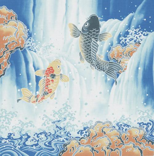 新作多数 無料ラッピング対応 のし対応 贈り物 風呂敷 おしゃれ [宅送] 開運小ふろしき お祝い 長寿 50cm 引出物 結婚祝 鯉の滝登り内祝