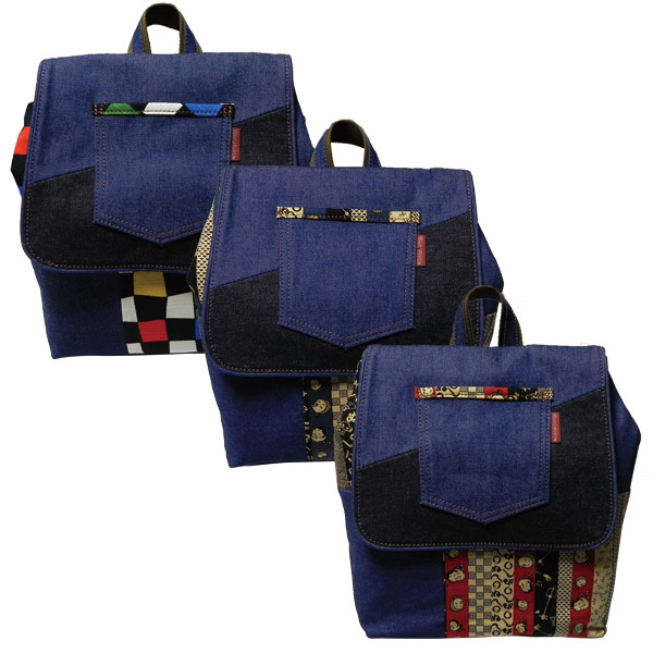 鞄 カバン バッグ 和柄バッグ 和遊楽 パッチワークデニムバッグ リュック 赤 紺 ポップ市松