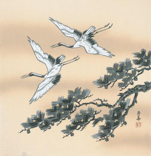 正絹風呂敷 二巾ちりめん友禅ふろしき 鶴と松(クリーム)内祝 結婚祝 お祝い 長寿 引出物