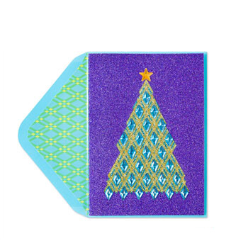 Papyrus Christmas Cards.Papyrus Jeweled Tree On Purple Glitter Message Card Christmas Card