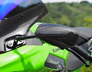 マジカルレーシング レーサーレプリカミラー T-1ヘッド綾織カーボン スーパーロングエルボブラックステム プレートBタイプ 18-Ninja400/250