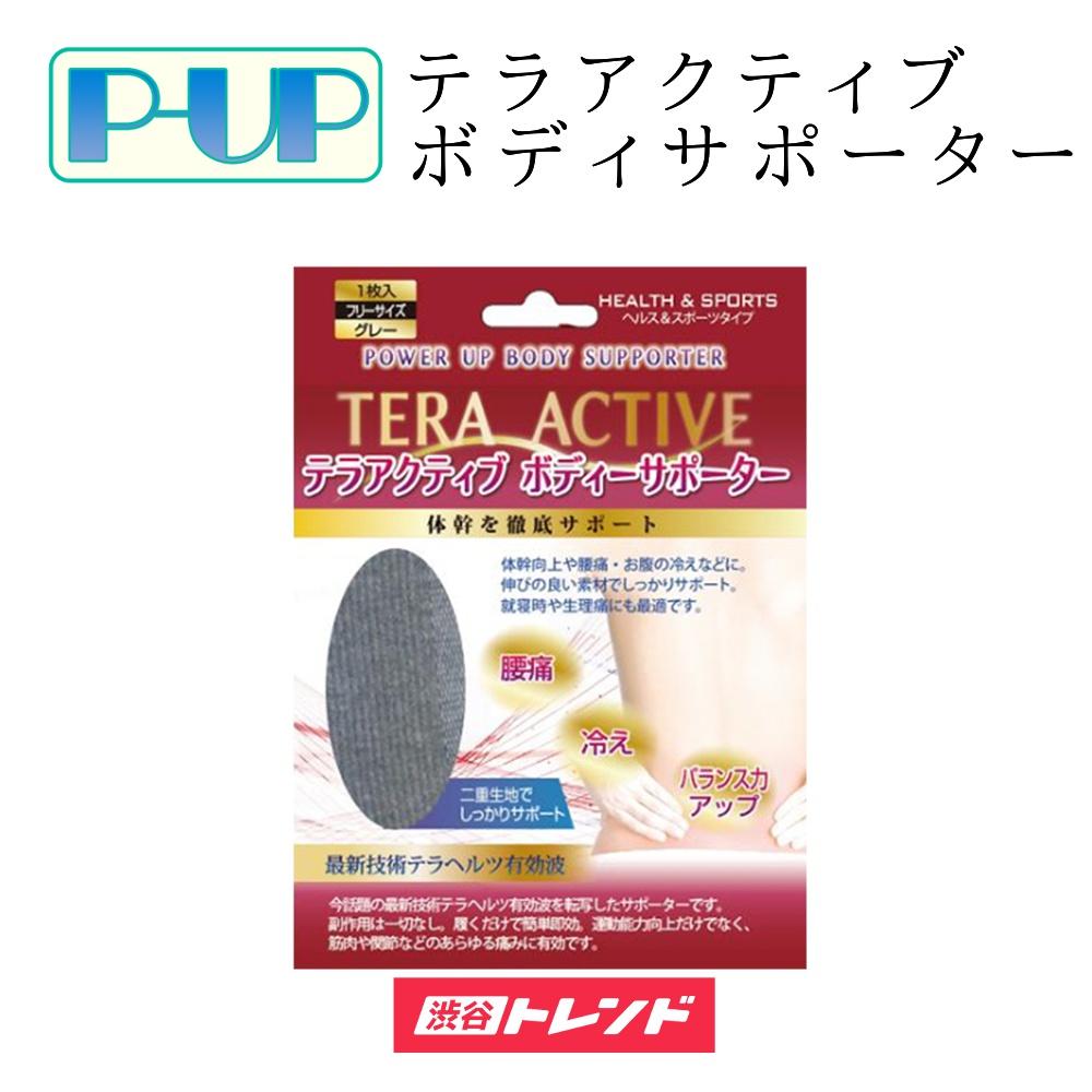 腰 腹 サポーター | P-UP TERA ACTIVE BODY SUPPORTER ピーアップ テラアクティブ ボディサポーター フリーサイズ 超美振動 テラヘルツ波 体幹 グレー 灰色 1枚入り