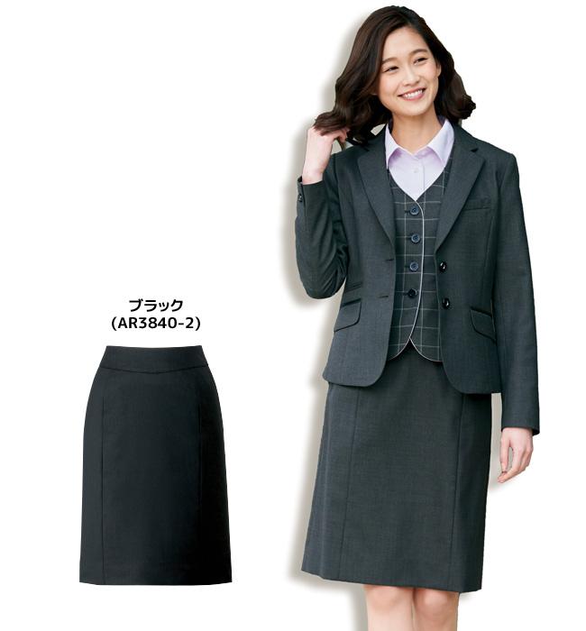 すっきり細く見せる切替えを施したタイトスカート(ブラック/グレー)【5号~17号】【メール便不可】