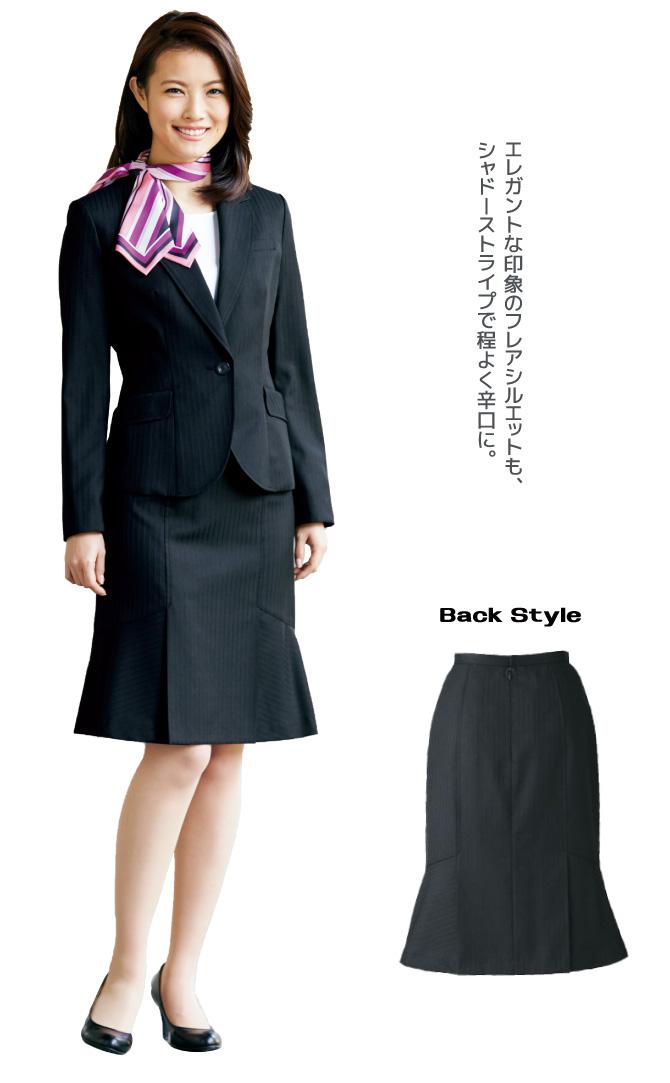 シックでクールな印象シャドーストライプスカート(フレア)【5号~17号】【送料無料】