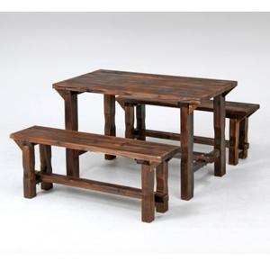 【送料無料】【メーカー直送】不二貿易 焼杉テーブル&ベンチセット 81762【smtb-u】