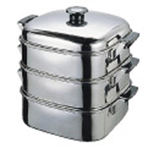 【送料無料】T 18-8角型蒸器 24cm 3段 0474500
