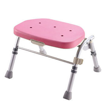 【送料無料】折りたたみシャワーチェア R型ピンク 背なし VSY1201