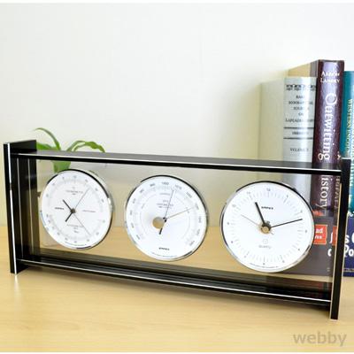 【送料無料】EMPEX エンペックス 気象計 横置 気圧計 温湿度計 スーパーEXギャラリー EX-796