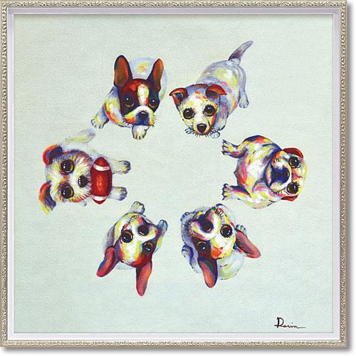 【送料無料】ユーパワー ハンドペイント オイルペイントアート M 「ドッグサークル」 OP-18009【smtb-u】