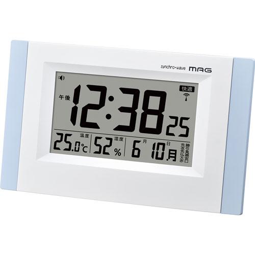 インフルエンザ 風邪予防 熱中症 乾燥の目安に デジタル 電波時計 環境目安表示 ノア MAG マグ ブリックス W-660 ホワイト/ブルー 置掛両用