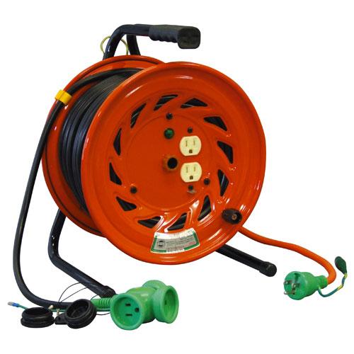 【送料無料】日動工業 延長コード型ドラム びっくリール 先端トリプルコンセント部のみ防雨型 30m RNW-E30S