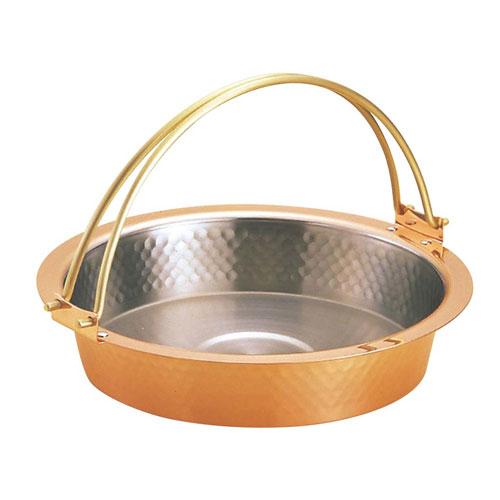 【送料無料】新光金属 銅 槌目入 すきやき鍋 ツル付 26cm S-2058L 3280500