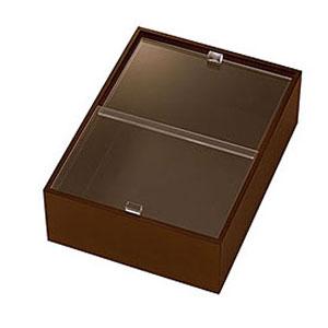 【送料無料】ヤマコー eco2 アクリル蓋付ボックス 深型 小 ブラウン 43860【smtb-u】