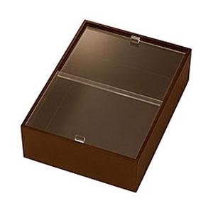 【送料無料】ヤマコー eco2 アクリル蓋付ボックス 深型 中 ブラウン 43863【smtb-u】