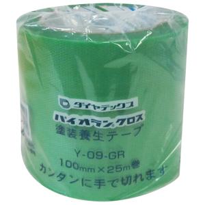 【送料無料】【メーカー直送】ダイヤテックス パイオランクロス 養生用テープ 100mm×25m 緑 18巻入 Y-09-GR