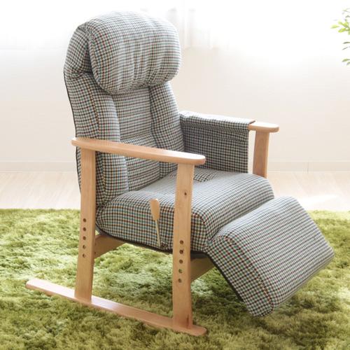 【送料無料】【メーカー直送】ヤマソロ 梢 フットレスト付高座椅子 グリーン 83-818