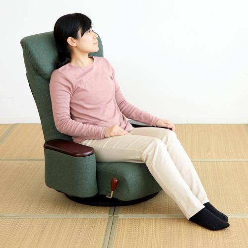 【送料無料】【メーカー直送】ヤマソロ 松風 木製ボックス肘付回転座椅子 グリーン 83-873