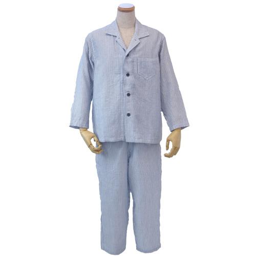 【送料無料】UCHINO マシュマロガーゼ ストライプ メンズパジャマ LA ダークブルー RPZ18028 DB