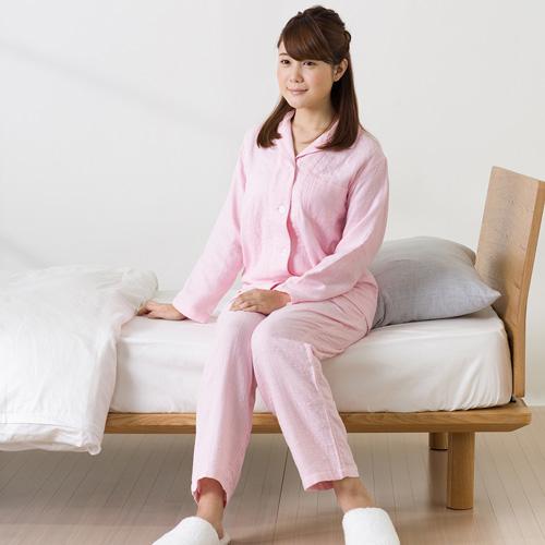 【送料無料】UCHINO マシュマロガーゼ レディスパジャマ S ピンク RP15682S P
