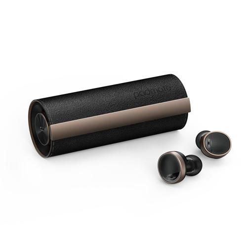 【送料無料】Padmate パッドメイト 完全ワイヤレスイヤホン PaMuScroll Plus Black Leather +ワイヤレス充電レシーバー PM16550