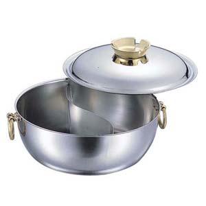 【送料無料】和田助製作所 SW電磁用しゃぶしゃぶ鍋 仕切付 30cm 真鍮ハンドルツマミ QSY8503