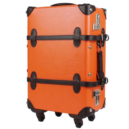 【送料無料】T&S ティーアンドエス WORLD TRUNK TRUNK CASE 7102 4輪トランクキャリー 47cm オレンジ/ブラウン 7102-47-OR-BR