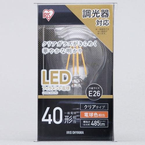 3980円 税込 以上で送料無料 追加で何個買っても同梱0円 アイリスオーヤマ LEDフィラメント電球 E26 D-FC 40W 485lm 電球色 秀逸 大注目 クリア 調光 LDA5L-G