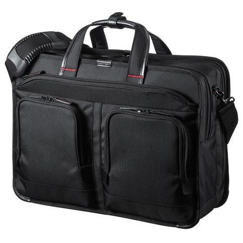 【送料無料】サンワサプライ エグゼクティブビジネスバッグPRO 15.6インチワイド 大型ダブル ブラック BAG-EXE9