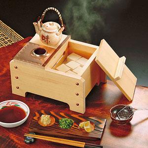 【送料無料】ヤマコー 椹・角型湯豆腐セット 1人用 US1040 23103