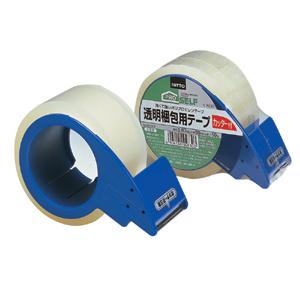 【送料無料】【メーカー直送】ニトムズ 透明梱包用テープカッター付 No.3303CT 50mm×50m J 6050 50個