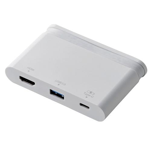 【送料無料】エレコム ELECOM Type-Cドッキングステーション PD対応 充電&データ転送用Type-C1ポート USB(3.0)1ポート HDMI1ポート ケーブル収納 ホワイト DST-C06WH