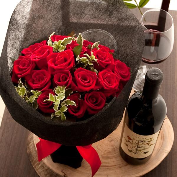 クリアランスsale 期間限定 特別な時間を演出する真紅のバラと赤ワインのセット誕生日 送料無料 真紅のバラ花束と赤ワイン コローシ ネロ ダーヴォラ の特別セット 誕生日プレゼント まとめ買い特価 女性 誕生日ギフト 妻 webflora 彼女 母親 HLS_DU fsp2124 RCPnewlife プレゼント