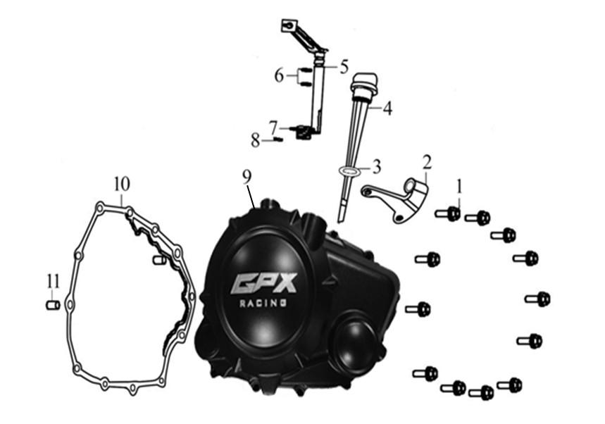 GPX ジーピーエックス COVER COMP. RIGHT CRANKCASE Gentleman Racer200