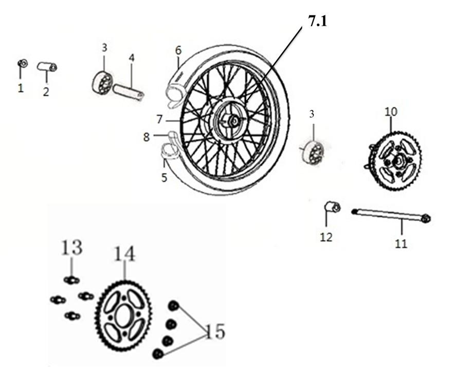 GPX ジーピーエックス Rear wheel hub assy Legend 150